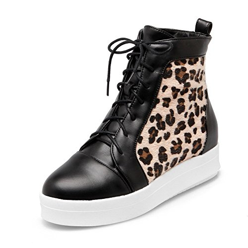 Women's Lace-Up Kitten-Heels Blend Materials Assorted Color Low-Top Boots