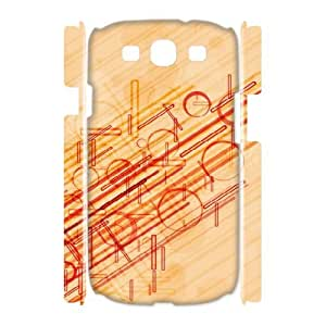 3D Samsung Galaxy S3 Case,Red Lines And Circles Hard Shell Back Case for White Samsung Galaxy S3