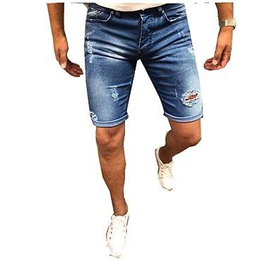 Hibote Hombre Pantalones Cortos Monos Vaqueros Denim ...