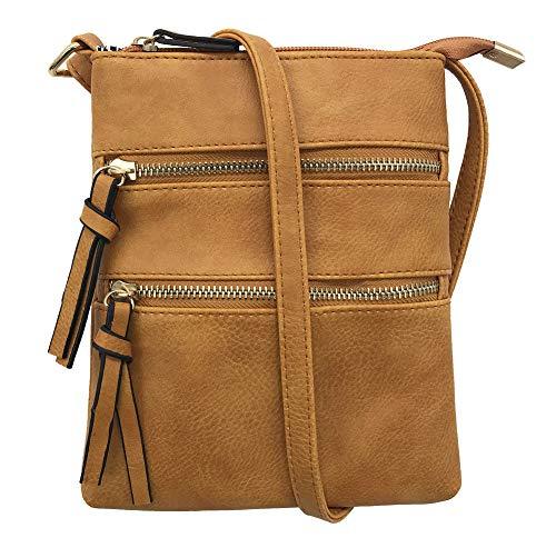 FairyBridal Triple Zipper Mutil-Pocket Leather Messenger Bag for Women,Crossbody Bag 5 Colors Satchel Purse (khaki(pu leather)) by FairyBridal (Image #1)