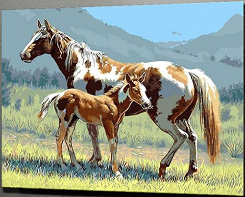 JynXos Wooden Framed Paint By Number Linen Canvas DIY Painting - Horse on the Grasslands