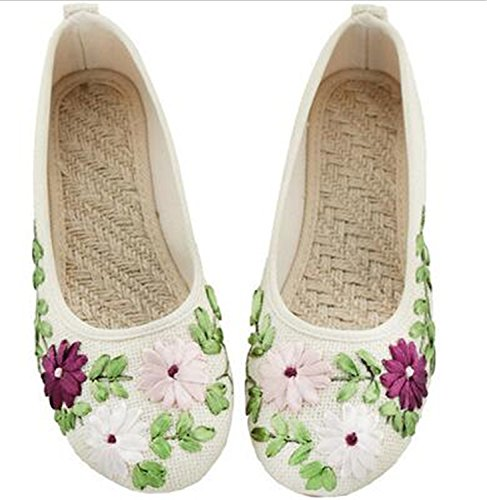 Beige 2 Linen Embroidered Feminino Vintage Fabric Comfortable Flower Flat Women Cotton White On Sapato Kenavinca Ballerina Old Flats Slip Peking Shoes fgxqwqHz