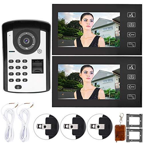 Wired Video Doorbell, 7 inch Wired Video Door Phone Intercom Doorbell Fingerprint Password Remote Unlock(US)