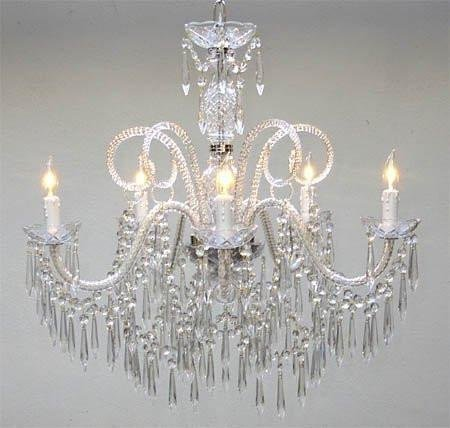 New! Murano Venetian Style All Crystal Chandelier H25 x (All Glass Crystal Chandelier)