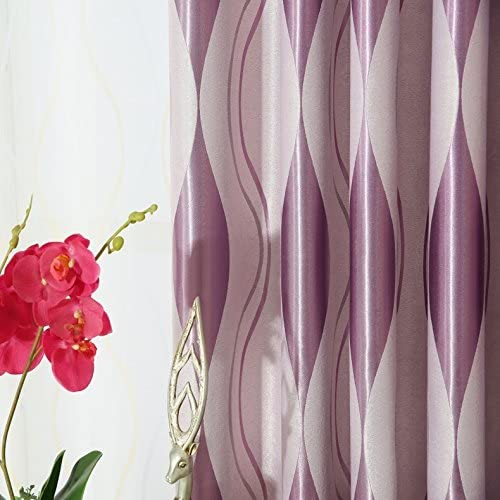 LQF Window Treatments Room Darkening Thermal Insulated Blackout Corrugated jacquard Grommet Window Curtain for Living Room , 1 Panel