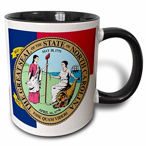 3dRose Sandy Mertens North Carolina - State Seal with Flag in Background - 11oz Two-Tone Black Mug (North Carolina State Seal)