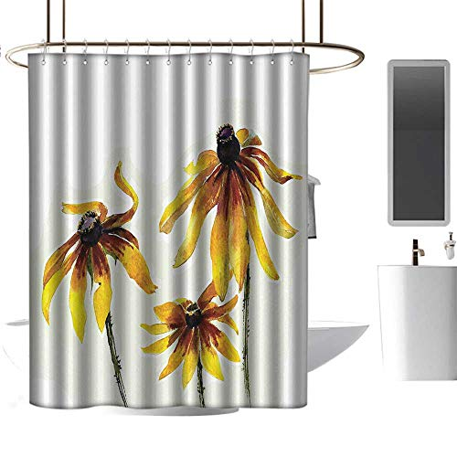 Shower Curtains Blue Complete Set Watercolor Flower Decor,Garden Daisy Flowers in Soft Painting Effect Dramatical Nature Mod Graphic,Yellow White,W72 x L96,Shower Curtain for Girls ()