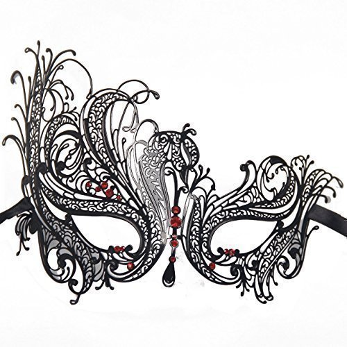 Signstek BF001RDBK Metal Laser Cut Filigree Masquerade Venetian - Red Masks For Masquerade Ball