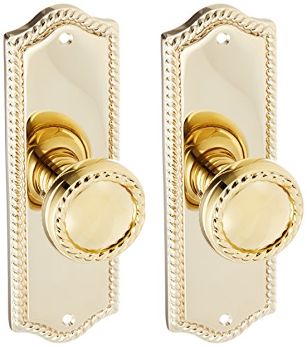 e Design Door Set with Matching Rope Knobs Double Dummy in Polished Brass. Door Hardware. ()
