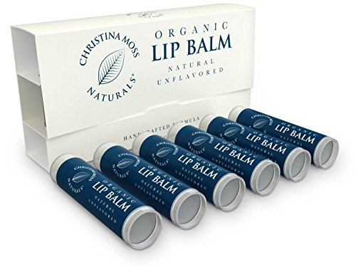 Lip Balm, Lip Care Therapy, Moisturizer Butter. Organic, 100% Natural Ingredients. Repair, Condition, Dry, Chapped, Cracked Lips. Made in the USA. Christina Moss Naturals (6 Pack, Natural Unflavored).