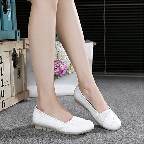 con Zapatos Enfermeras Zapatos Los Blanco de XZGC Muelle Al Blanco Plana Trabajo de Tendón Zapatos La Final Plana Cuero de de Planos qUBaxEaXw