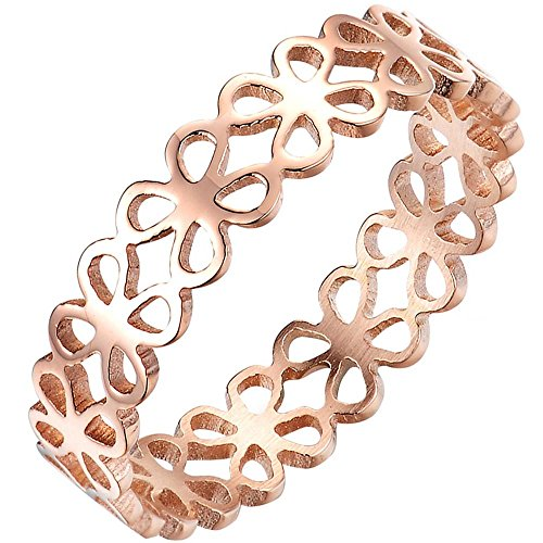 Clover Band Ring - BOHG Jewelry Womens 5MM Four-Leaf Clover Hollow Ring Engagement Wedding Charming Lady Gril Band Rose Gold Size 6