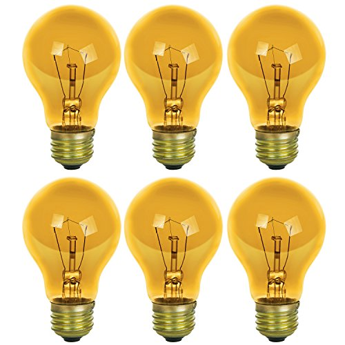 Sunlite 25A/TB/Y/6PK Incandescent Yellow A19 25W Light Bulbs with Medium E26 Base (6 Pack) ()