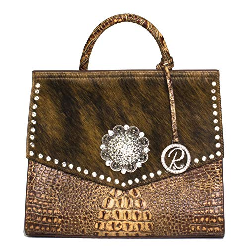 Raviani Satchel W/Flap Brown Embossed Croco Leather & Hair on W/Large Concho