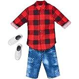 Barbie Ken Fashions Pack - Red Buffalo Plaid Shirt and Denim Shorts