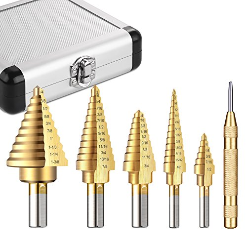 Tacklife PDH06A Classic Titanium Step Drill Bit Set & Automatic Center Punch,High Speed Steel |5-Piece Set| Total 50 Sizes,Double Cutting Blades Design with Aluminum Case