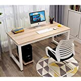 Modern Simple Style Computer Desk PC Laptop 47'' Office Desk Computer Table Study Writing Desk for Home Office (Beige & White Frame)