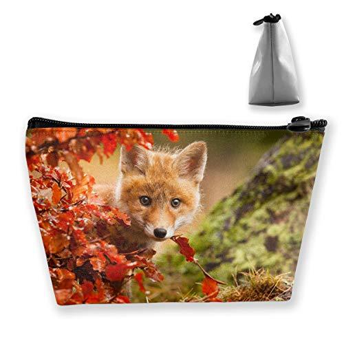 Makeup Bag Cosmetic Fox Animal Leaves Portable Cosmetic Bag Mobile Trapezoidal Storage Bag Travel Bags with -