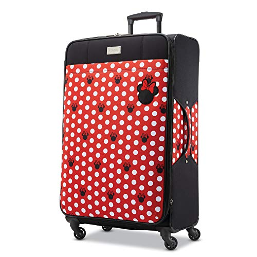 (American Tourister Disney Minnie Mouse Dots Softside Checked Luggage with Spinner Wheels, 28 Inch)