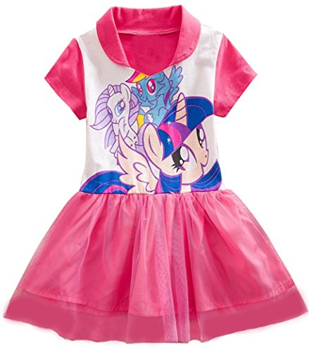Sidney Girls Summer My Little Pony Veil Dress,lapel ,3-8t (8t, Pink)
