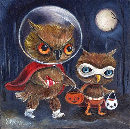 Halloween Owls Trick or Treating Whimsical Art Print for -