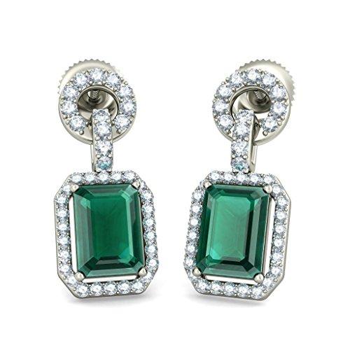 14K Or jaune 0.468CT TW White-diamond (IJ | SI) et émeraude Boucles d'oreilles pendantes