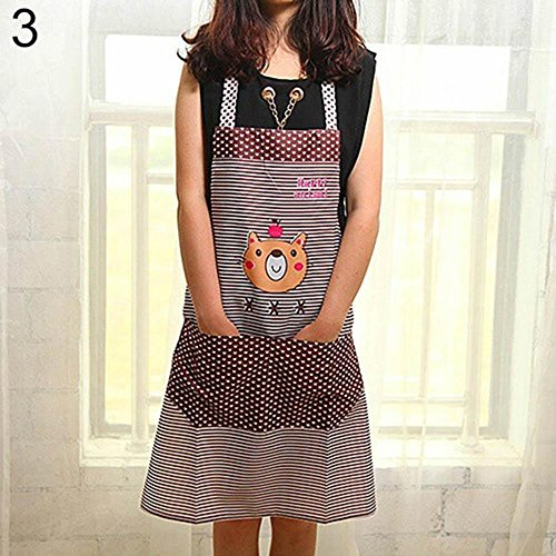 Unmengii Discount Fashion Kitchen Waterproof with Pocket Women Chef Stripe Dot Cartoon Bear (Stripe Chefs Apron)