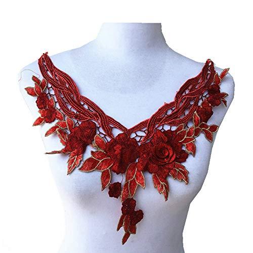 - Colorful Flower Lace Fabric Dress Applique Motif Blouse Sewing Trims, DIY Neckline Collar Costume Decoration (red)