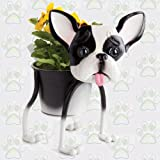 Mini Painted French Bulldog Metal Indoor/Outdoor Planter