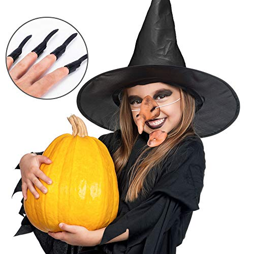 5 in 1 Witch Set for Costume Ball Halloween Party (Nose, Hat, Chin, Teeth, Nails) ()