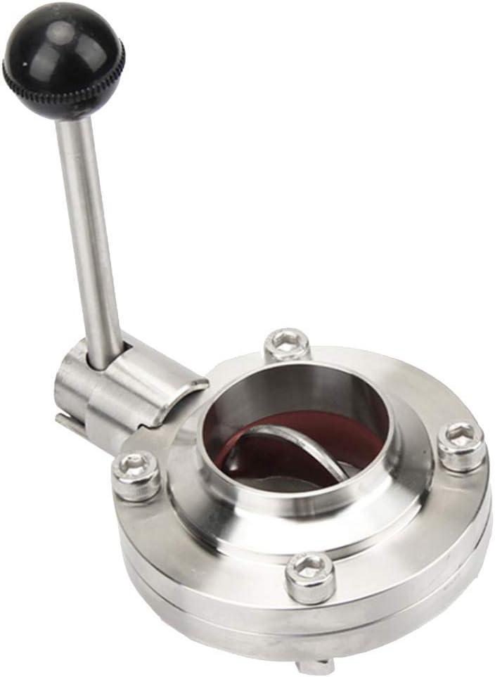 LKK-KK 1.5 Inch Sanitary Stainless Steel 304 Butterfly Valve Tri Clamp Food Grade, 38mm