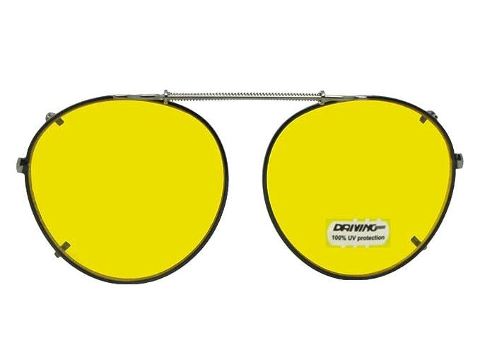 4ec64ee89f Semi Round Non Polarized Yellow Clipon Sunglasses (Black-NON Polarized  Yellow Lens