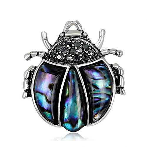- Jana Winkle Pin Ladybug Shell Brooch Beetle Broches Pins Black Insect Brooches Silver Color Suit Antique Silver Plated