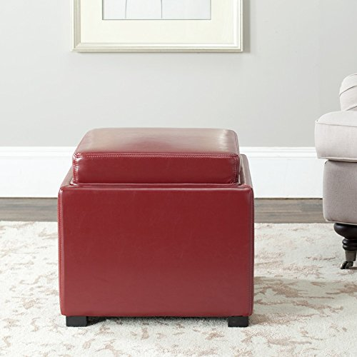 Safavieh Hudson Collection Kaylee Leather Single Tray Square Storage Ottoman, Red