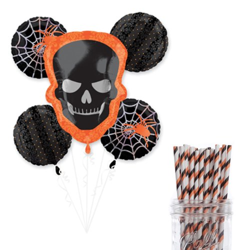 Dress My Cupcake Party Decoration Kit with Straws and Balloons, Sophisticated Halloween Party -