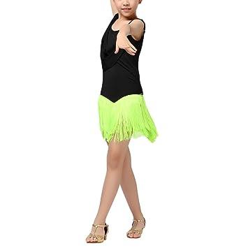 houg Brentwood Latin para vestidos de niña Latin Dance Disfraces abgestufte borla vestido de ballet Salsa