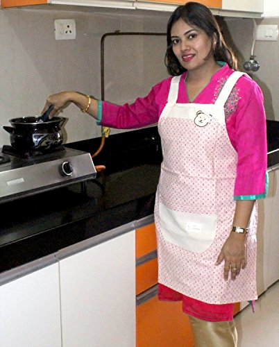 HOKIPO Floral Print Linen Cotton Kitchen Apron with Pockets – Free Size, Color: Pink