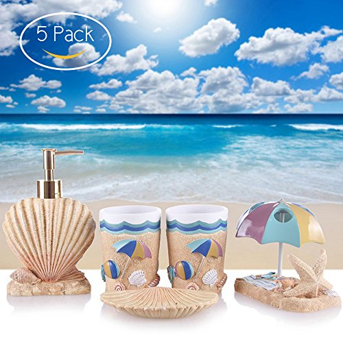 new wonbye seashell bathroom accessories bathroom accessory set 5 piece soap dispensersoap dish - Sea Shell Bathroom Accessory