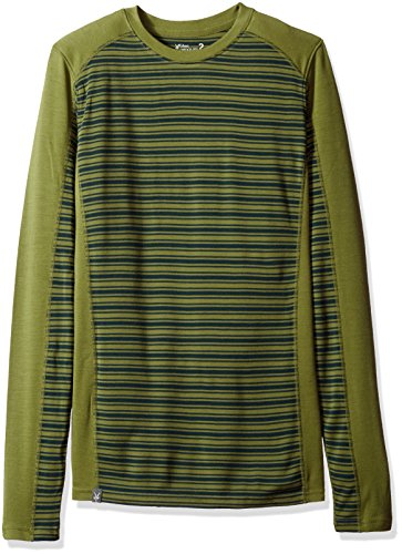 Vest Ibex Lightweight (Ibex Merino Wool Men's Woolies 2 Long Sleeve, Crew Shirt, Small, Jasper/Peat Moss Stripe)
