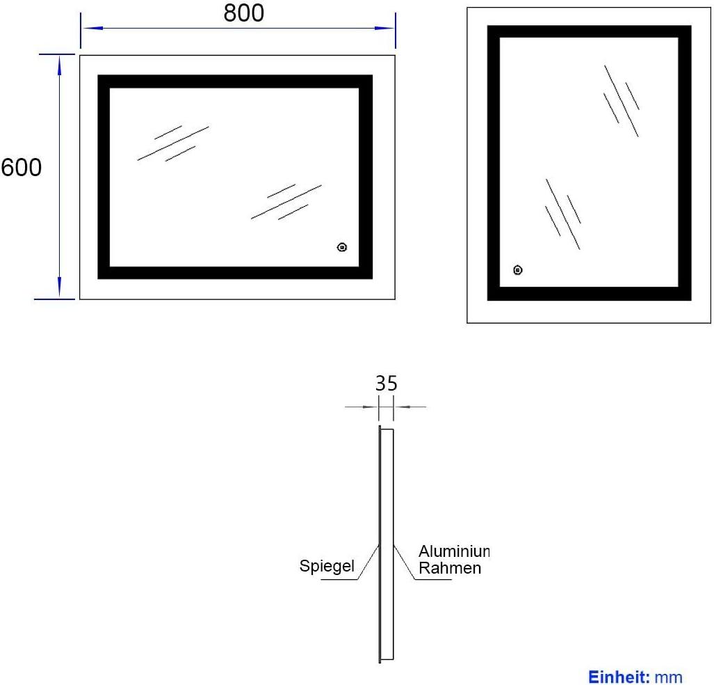 Meykoers 3000-6400K Specchio da parete con illuminazione a LED per bagno