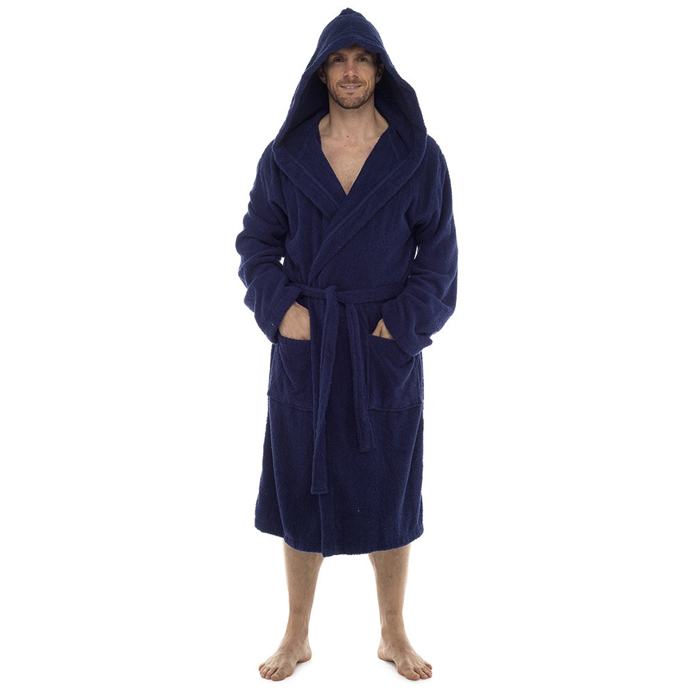 Mens 100% Cotton Robe Luxury Terry Towelling Bath Robes Dressing Gown Housecoat + Belt Hooded and Shawl Collar Options Size UK M-XL HT568_HT566
