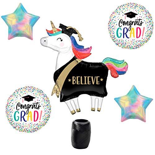 (Veil Entertainment Believe Unicorn Congrats Grad Iridescent Stars 5pc Balloon Pack, Rainbow)