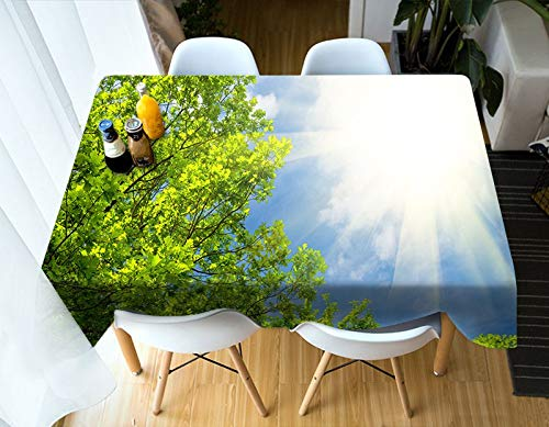 3D Tablecloth Outdoor Scenery Tree and Sky Pattern Washable Cotton Cloth Thicken Rectangular and Round Wedding Table Cloth  J B07SDLV79R