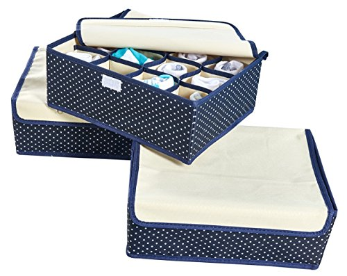 Organizer Underwear Socks Ties Bras Storage Box with Cover Closet Divider Closet Systems , Set of 3 Foldable Drawer Divider (Blue) - Oxford Contemporary Dresser