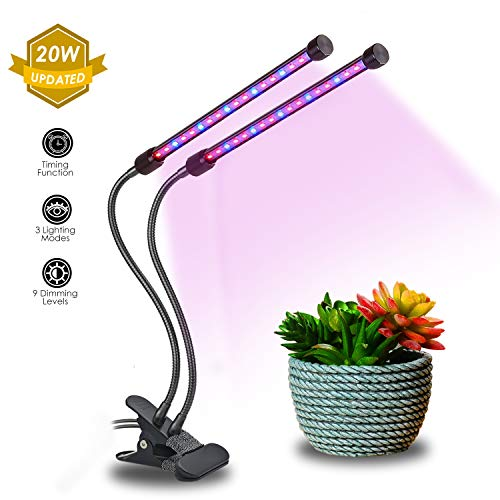 20W Dual Head Timing Grow Light, Brionac 40 LED 9 Dimming Levels Grow Lamp for Indoor Plants with 3/9/12H Timer, Red/Blue Spectrum and Adjustable Gooseneck by Brionac