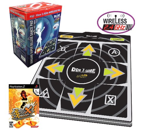 Wireless Dance Pad Ddr - Dance Dance Revolution Energy Wireless Super Deluxe Dance Pad for PS2 + Dance Dance Revolution DDR X