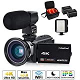 4K Camcorder Vlogging Video Camera for YouTube CofunKool 60FPS 48MP Ultra HD WiFi Night Vision 16X Digital Zoom with External Microphone Wide Angle Lens LED Video Light and Shoulder Bag