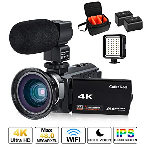 (4K Camcorder Vlogging Video Camera for YouTube CofunKool 60FPS 48MP Ultra HD WiFi Night Vision 16X Digital Zoom with External Microphone Wide Angle Lens LED Video Light and Shoulder)