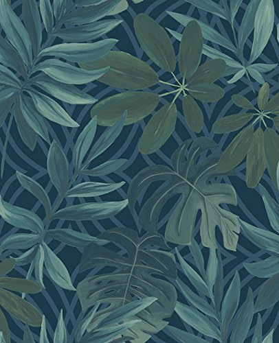- A-Street Prints 2763-24201 Nocturnum Blue Leaf Wallpaper,