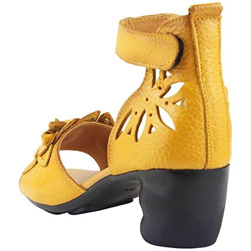 Eté cm Bride Bout Fleurs 4 Femme Ouvert wealsex Mode Scratch Talon Confort Cuir Cheville Jaune Chaussure Carre Elégant Sandale 8qFwZg